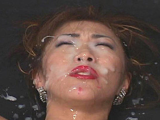 Older woman Yukari Sakurada gives blowjobs  masturbates with a sex-toy  acquires fucked & acquires bukkake cumshots on her face.