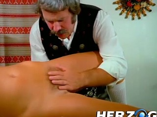 Golden-haired beauty strips and gets eaten by an old man