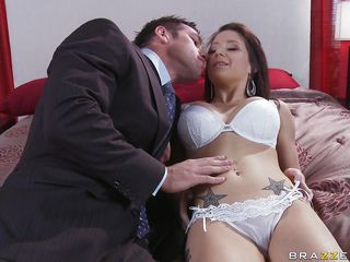This hawt and tattooed brunette is led in the bedroom by a charming male to be fucked very hard. 1st the dude want to stimulate her by touching her nice bumpers and nipples and going down to her vagina. The hawt doxy is..
