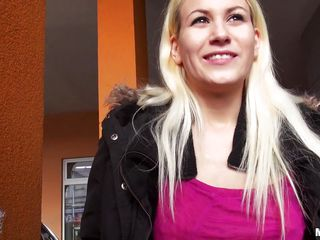 Sexy blonde Yenna is approached by a horny stranger who suggests her some money in swap to her clothes. The bitch has to show him her tight ass, cute milk sacks and also to go down on him if she desires to earn the money..