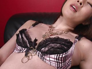 Japanese milf Rio Kagawa is horny and wants to pleasure her self with her toy. She takes off her brassiere and rubs her nipples while inserting her vibrating vibrator deep inside her pussy. She stimulates her clit with..