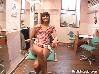 Avid slut Molly finds herself in an office room with her titties outside her dress. There is a horny man with her, who`s filming her playing with her cunt through the bikini. She turns her ass to the guy, so he could..