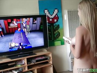 Blond teen Stacie loves playing video games but that babe loves playing with a dick even more! Look at her, those blue eyes pretty mouth and milky white skin. She can give a guy a hard one and knows how to take care of..