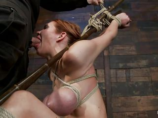 Sexy slut Rain is fastened up hard and acquires a large hard cock in her mouth. She takes it unfathomable in her throat and her large hawt boobs that are fastened also are just asking for the guys cum on them. After..