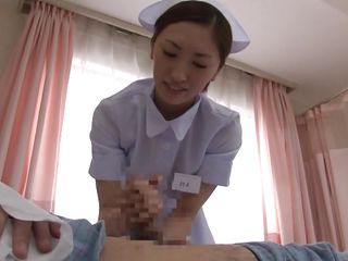 Nurse Yuri was told to get a sample from the patient in Room 115. The only problem is, it's a semen sample and he has a broken arm. So, that babe has to get it herself. That's no problem because that babe knows how to..