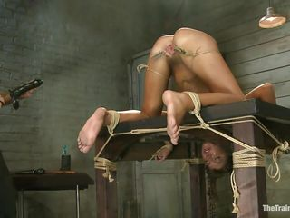 Her executor has a lot of experience when it's about naughty cunts like her. He shows where her place is and after this chab tied her on the table this chab gapes her love tunnel securing it with laundry pliers and rope...