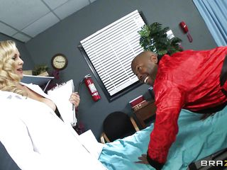 Mature busty blonde doctor arrives for checkup of her patient. Black man begins to seduce her and offers her for ride of her lifetime. At 1st doctor denies but slowly and steadily comes in the charm of huge hard darksome..