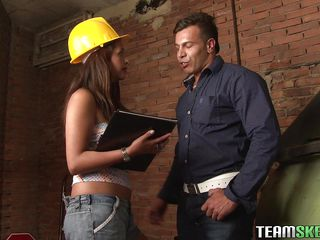 She's at work and craves to make sure that anything goes as planed but she understands that the workers need a break. So, after talking with one of them she receives bare and kneels to give an awesome blowjob, wrapping..