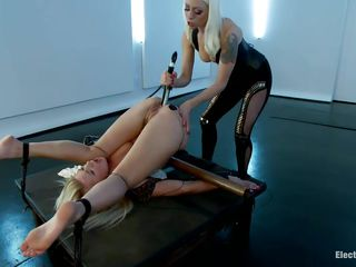 Anikka Albrite is a blonde milf who likes being bound up in device bondage. Watch Lorelei Lee fucking her asshole with a huge shocking metallic dildo. The hot sexy slave with electrodes on her butt cheeks moans with both..