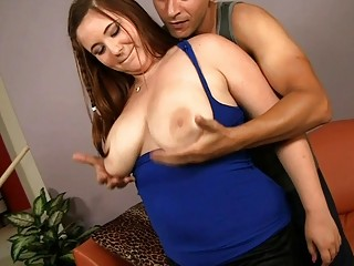 Lucky guy plays with very fine chubby bra buddies