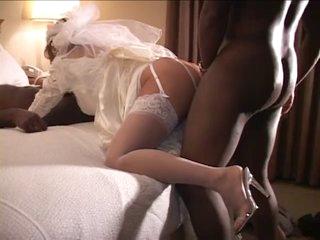 White Bride Drilled by 2 BBC on Wedding Night - Cuckold