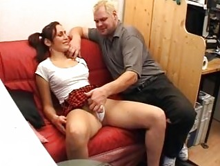 Sexually excited old man screws a sexy brunette