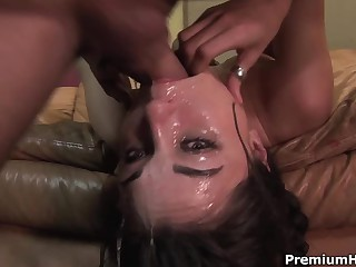 Well known dark-haired haired porn diva Sasha Grey acquires her throat fucked greatly deep. This babe acquires a mouthful of jizz after coarse face fucking on the couch.