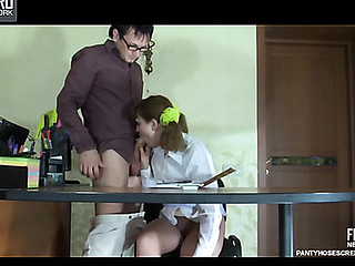 Ponytailed coed in sheer control top pantyhose blowing and riding her teacher