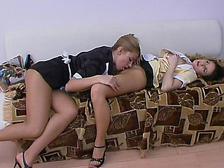 Hot French maids tongue-polishing pantyhose clad soaked cracks during the break