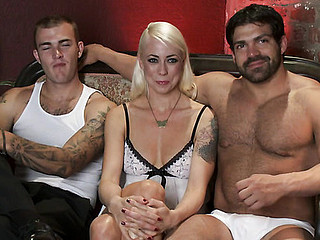 Extreme fantasy of hotty bound and double penetrated by strangers.