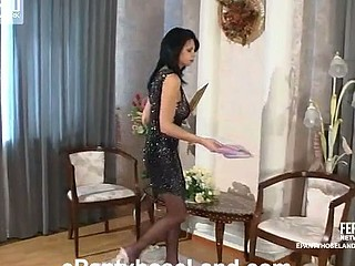Lascivious honey spying upon sexy playgirl taking on barely dark hose