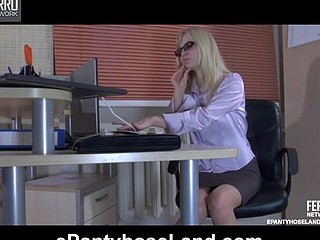 Golden-haired secretary puts her hose clad legs on the desk for marital-device toying