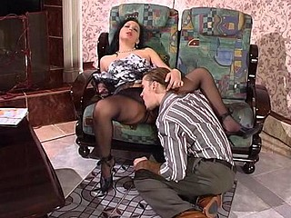 Sexy boyfriend calming a hotty with tender caressing of her pantyhosed muff