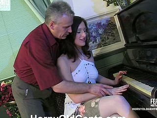 Charming coed widening legs for her old music teacher swallowing his dick