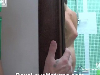 Randy older gal takes a shower previous to getting group-fucked by a youthful cute chap