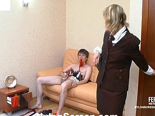 Lewd lady-boss in luxury nylons showing what real fucking pleasure means