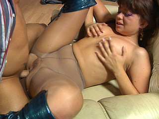 Freaky gal in torn tights gets her black hole fingered previous to a knob slips in