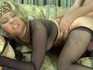 Sizzling hot blondie encased in black hose going for hardcore session