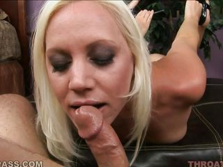 Watch this hawt blondy as she plays with this guy huge jock before giving him a blowjob. She is a naughty skinny babe with small cute tits, sexy lips and gorgeous blonde hair. After playing with his cock for a while she..