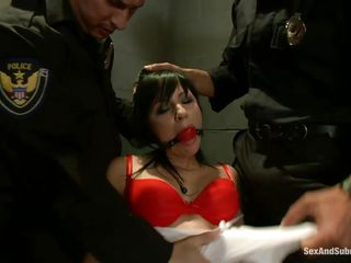 Those bad cops are going wild with her hot face hole and after ripping her clothes revealing a nice couple of natural tits they are using their hard sticks to punish her hot mouth. Watch her taking those hard jock..