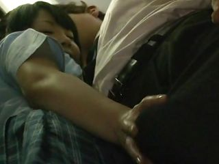 Concupiscent japanese college girl stays in the bus near to a handsome guy. She starts playing with that hard cock through his clothes. This chab touches her breasts while that babe brings his dick out. The bitch picks..