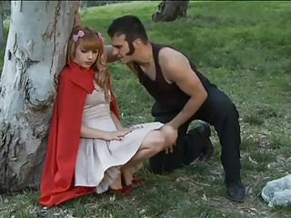 Little red riding hood is sIeeping on the grass. The big bad wolf approaches her and demands her innocence. She wants to go back home to save her grandma. Mean while, another sexy slut arrives 1st at her grandma`s house...