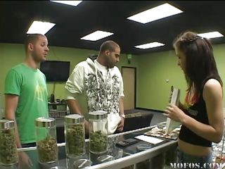 The guy in the green shirt wants to acquire high. Jessica tells him to go to the doc and acquire a card, but that guy comes back with a fake. He needs the weed so his gf will suck him better, but it's no-go. She makes..
