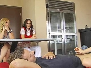 Nasty sweethearts is torturing stud's outstanding pecker