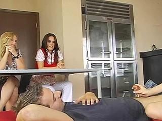Nasty sweethearts is torturing stud's outstanding pecker