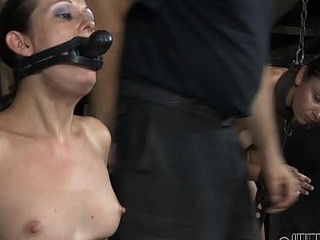Gagged cutie gets violent whipping on her scones