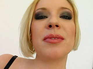 This short haired blond meets two hard dicks. Her wet crack gets pounded and two loads of cream fill her up. The cum oozes out.