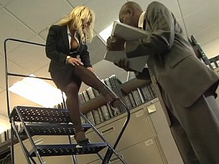 Busty blonde office girl acquires drilled by black ramrod