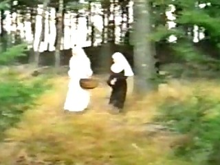 Obscene nuns sharing dick outdoor