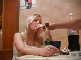 Very drunk russian golden-haired fuck