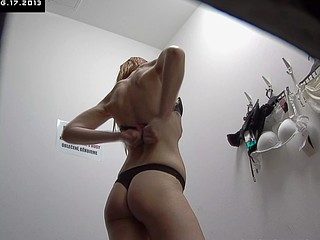 Here is spying the changing rooms! We have 2 security cameras hidden in cabins of an underclothes shop. Beautiful Czech beauties fitting on bras, panties and sexy underware out of even the slightest idea they are being..