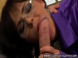 Hardcore blowing bitch gets some cock to ride for a bit