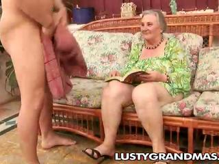 Wicked granny Margots hairy pussy for young cock