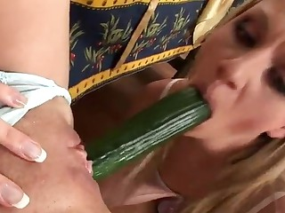 Lesbian Cherry Jul has got laid close by cucumber
