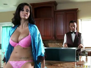 MILF Ava Addams Titty Fucks Her Butler With Her Big Natural Tits