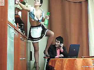 Lascivious French maid in smooth tights willingly giving smashing footjob