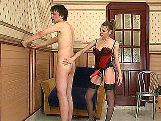 Slutty chick taking the almost any form her strap-on vigour in fucking with a dude