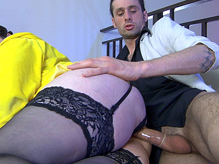 Curvaceous older fatty gets her balloons licked by a guy previous to doggy style