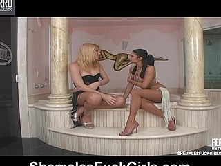 Frisky shemale and her skinny girlfriend getting down and obscene in baths