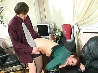 Freaky aged chick teasing her co-worker with mellow muff hungry for jock